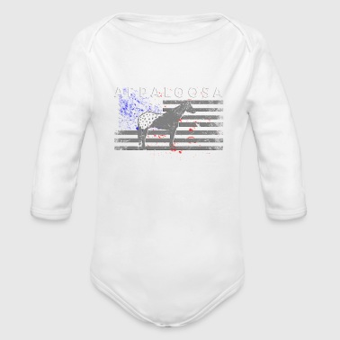 Appaloosa Horse and American Flag - Organic Long Sleeve Baby Bodysuit