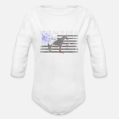 Appaloosa Appaloosa Horse and American Flag - Organic Long Sleeve Baby Bodysuit