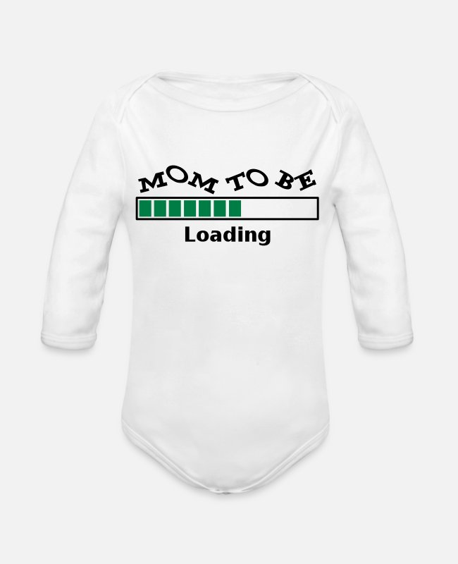 Pregnancy Baby One Pieces - Mom To Be - Organic Long-Sleeved Baby Bodysuit white