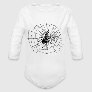 spider in the web - Organic Long Sleeve Baby Bodysuit