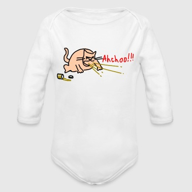 Sneezing cat by Rones 2400px - Organic Long Sleeve Baby Bodysuit