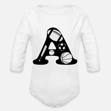 Initial initial A - Organic Long-Sleeved Baby Bodysuit