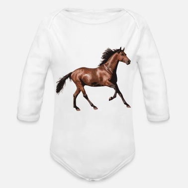 Mare reiten riding pferde horse knight reiter rider75 - Organic Long-Sleeved Baby Bodysuit