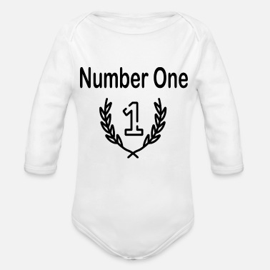Number One number one - Organic Long Sleeve Baby Bodysuit