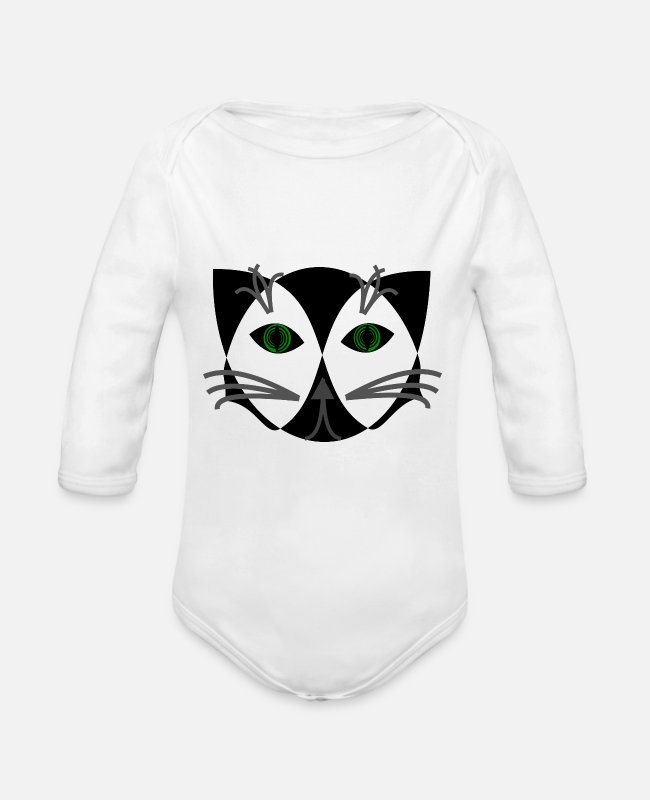 Black Metal Baby One Pieces - Black cat - Organic Long-Sleeved Baby Bodysuit white