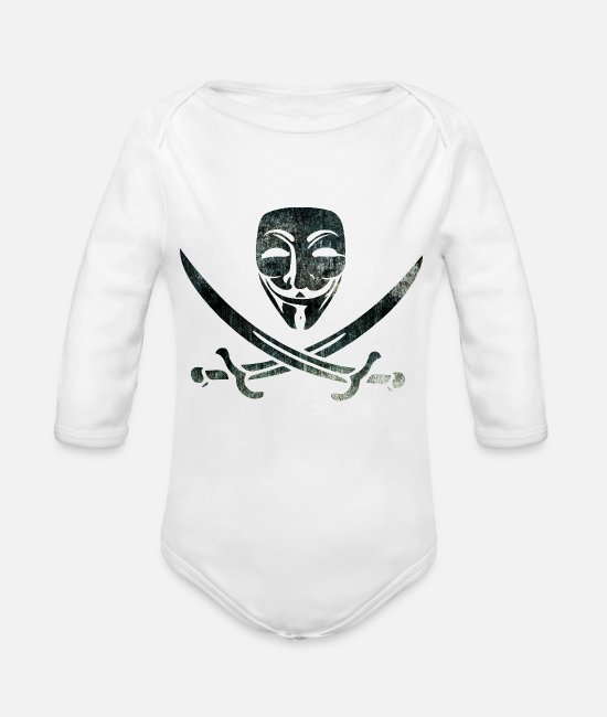 Anon Baby One Pieces - Digital Pirates - Organic Long-Sleeved Baby Bodysuit white