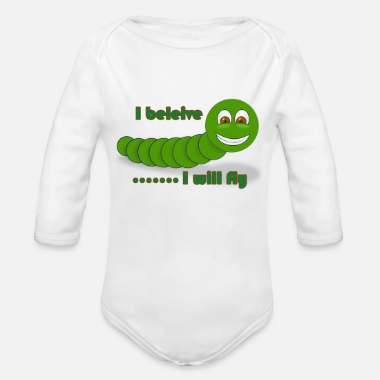 Worm Baby Clothing - worm - Organic Long-Sleeved Baby Bodysuit white