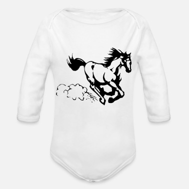 Gallop Galloping horse - Organic Long-Sleeved Baby Bodysuit