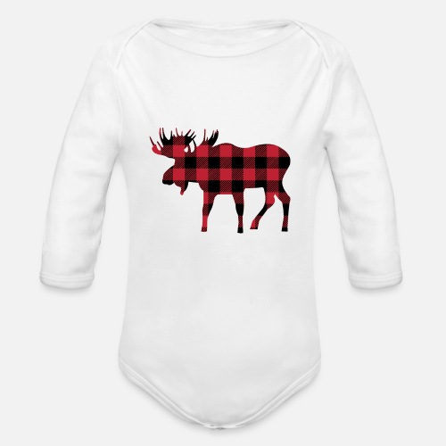 5b7412fc54 Organic Long-Sleeved Baby BodysuitMoose Silhouette in Red and Black Buffalo  Plaid