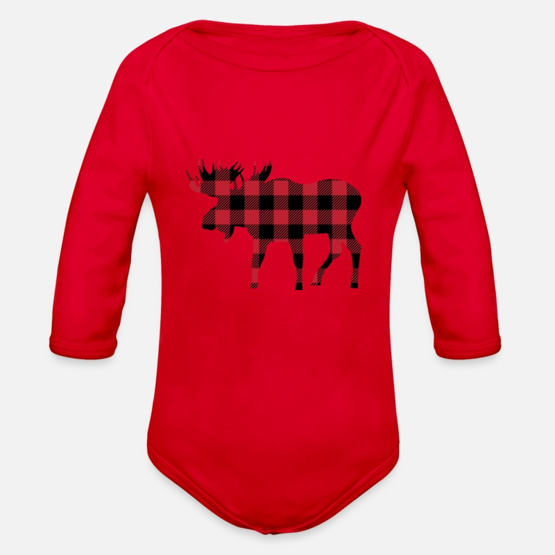 7f20774b02 Moose Silhouette in Red and Black Buffalo Plaid Organic Long-Sleeved Baby  Bodysuit
