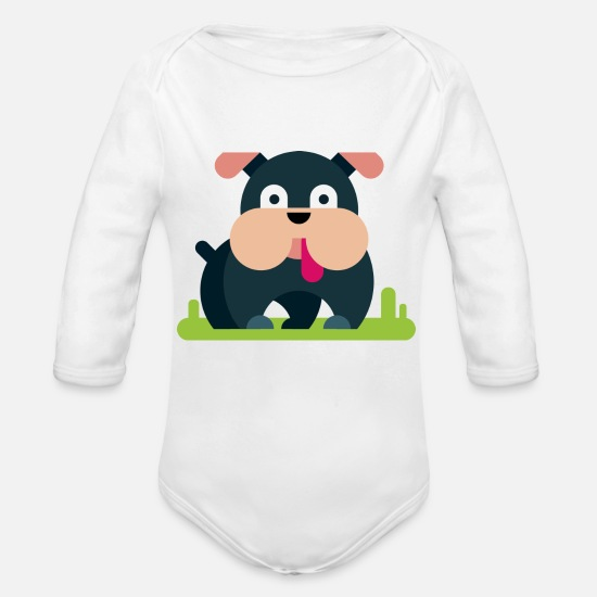 Dog Owner Baby Clothing - Little Bulldog - Organic Long-Sleeved Baby Bodysuit white