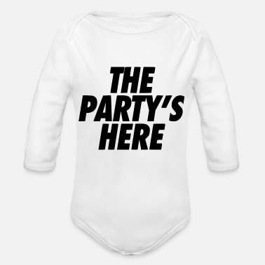 Electro the party is here - Organic Long Sleeve Baby Bodysuit