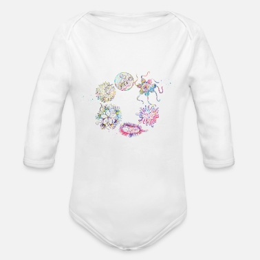 Human viruses and microbes - Organic Long-Sleeved Baby Bodysuit