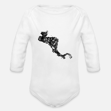 Central America Central America map with country borders - Organic Long-Sleeved Baby Bodysuit