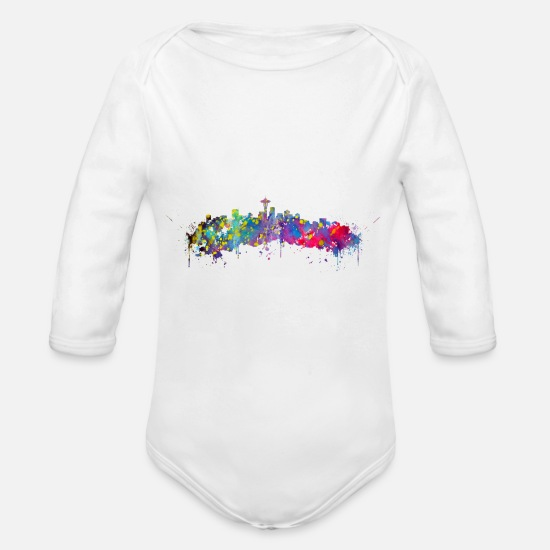 Seattle Baby Clothing - Seattle skyline - Organic Long-Sleeved Baby Bodysuit white