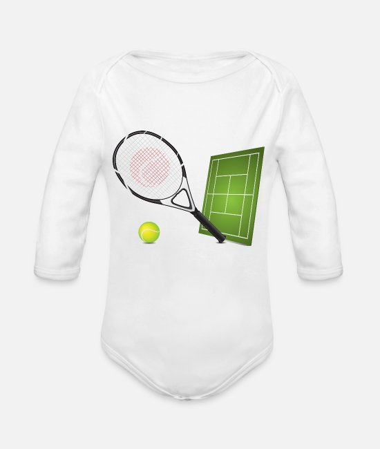 Tennis Baby One Pieces - Tennis - Sports - Organic Long-Sleeved Baby Bodysuit white