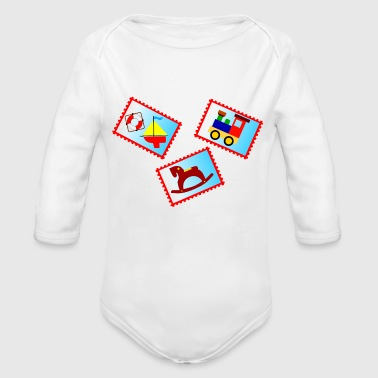 stamps with toys - Organic Long Sleeve Baby Bodysuit