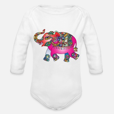 India Elephant Colour India - Organic Long Sleeve Baby Bodysuit