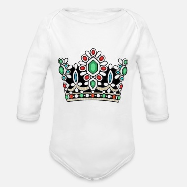 Persian History Crown Royal Majesty Queen Royalty Coronation King - Organic Long-Sleeved Baby Bodysuit