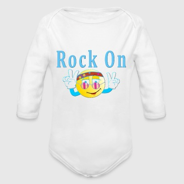 Rock Face Rock On Hippie Happy Face Emoticon - Organic Long Sleeve Baby Bodysuit