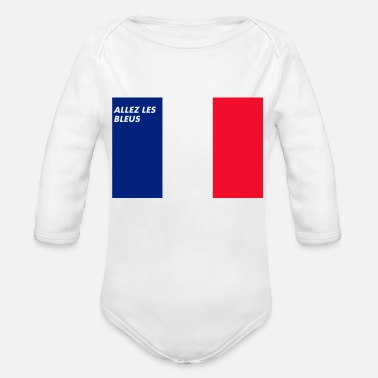 French Flag French Love - Organic Long Sleeve Baby Bodysuit