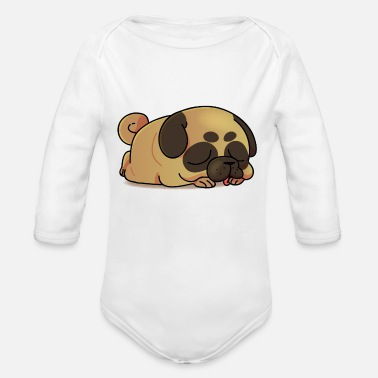 Funny Funny pug cartoon collection 3 - Organic Long-Sleeved Baby Bodysuit