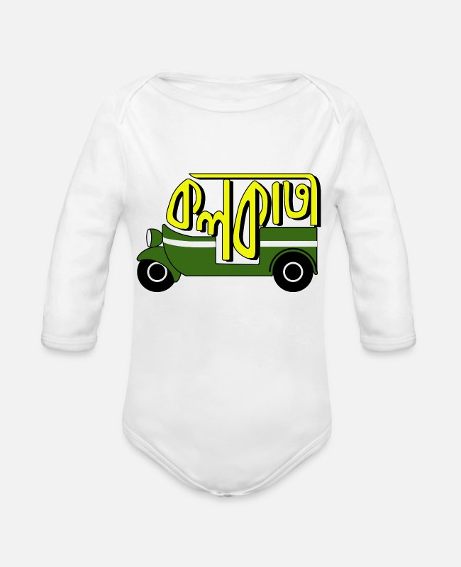Auto Baby One Pieces - Love from Kolkata - Organic Long-Sleeved Baby Bodysuit white