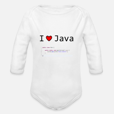 Java I Love Java - Hello World! Geschenkidee - Organic Long-Sleeved Baby Bodysuit