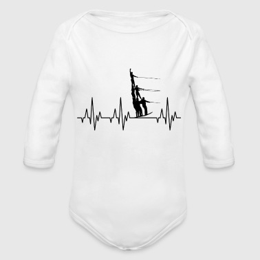 Water Sports Heartbeat Water Ski Water Sports - Organic Long Sleeve Baby Bodysuit
