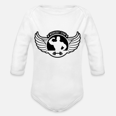 workout_team_shield_gi1 - Organic Long-Sleeved Baby Bodysuit