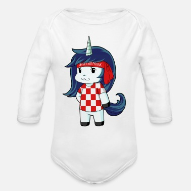 World Champion Croatia world champion unicorn - Organic Long Sleeve Baby Bodysuit