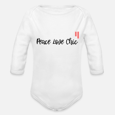 Cuore Tee shirt peace love Chic - Organic Long Sleeve Baby Bodysuit