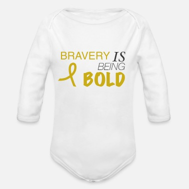 Childhood Bravery Is Bold w/ribbon - Organic Long-Sleeved Baby Bodysuit