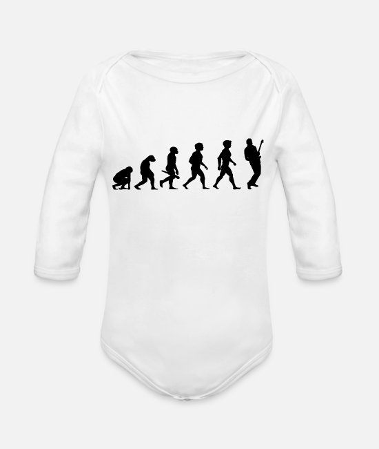 Bass Baby One Pieces - Evolution Electric Guitar Player Accoustic Bass - Organic Long-Sleeved Baby Bodysuit white