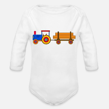 Tractor toy tractor with trailer - Organic Long Sleeve Baby Bodysuit