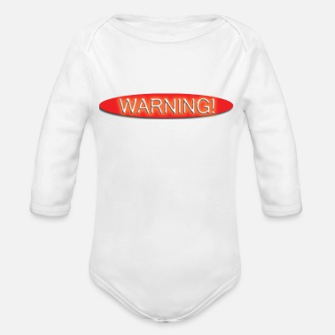 Transparent Warning (Transparent) - Organic Long-Sleeved Baby Bodysuit