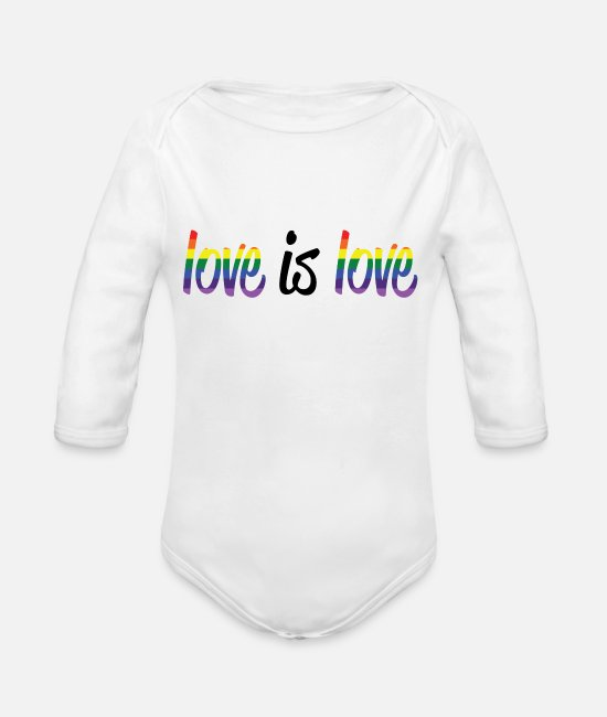 Pride Baby One Pieces - Love is Love - Organic Long-Sleeved Baby Bodysuit white