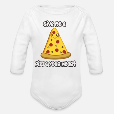 Pizza Pizza Heart - Organic Long Sleeve Baby Bodysuit