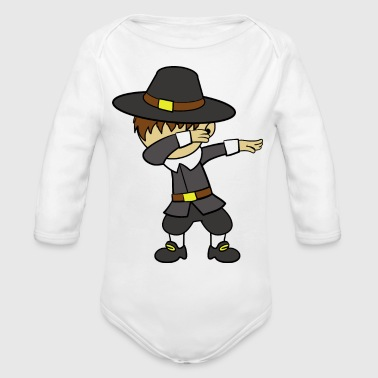 Dabbing Dancing Pilgrim Thanksgiving - Organic Long Sleeve Baby Bodysuit