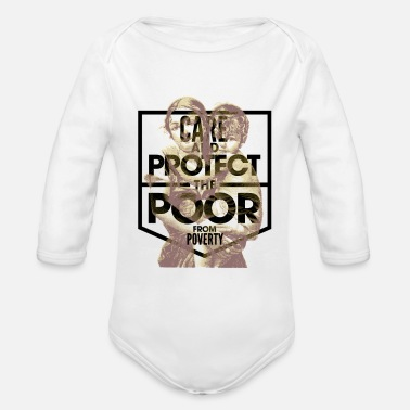 Poverty fight poverty not poor - Organic Long-Sleeved Baby Bodysuit