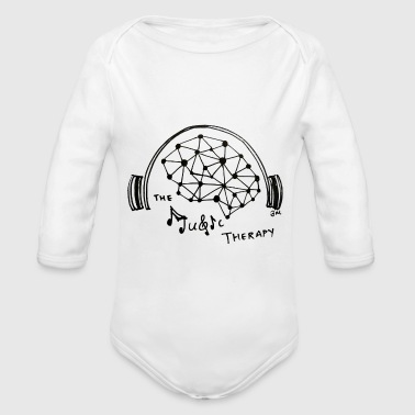 Black Music Music Therapy - Black - Transparent - Organic Long Sleeve Baby Bodysuit