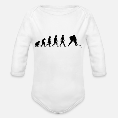 Sports Evolution Hockey Player Puck Stick Winter Sports - Organic Long-Sleeved Baby Bodysuit