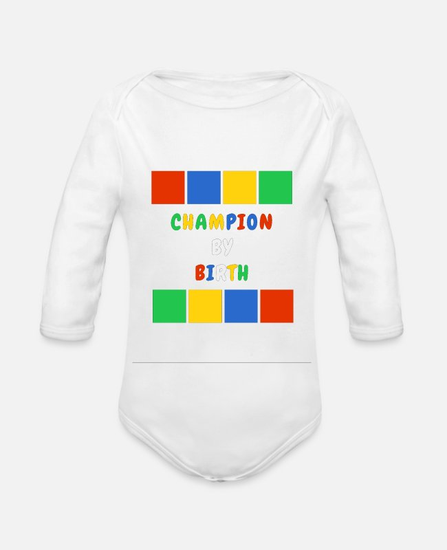 Design Baby One Pieces - Champion By Birth - Organic Long-Sleeved Baby Bodysuit white