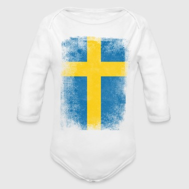 Sweden Flag Proud Swedish Vintage Distressed Shirt - Organic Long Sleeve Baby Bodysuit