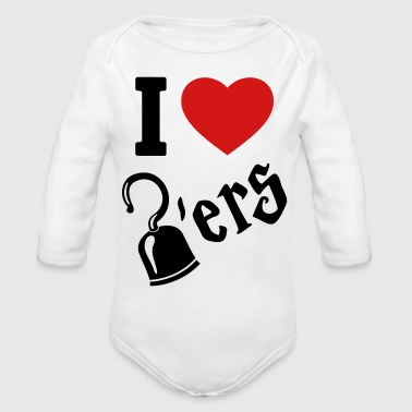 I Love Hookers - Pirate hook - Organic Long Sleeve Baby Bodysuit