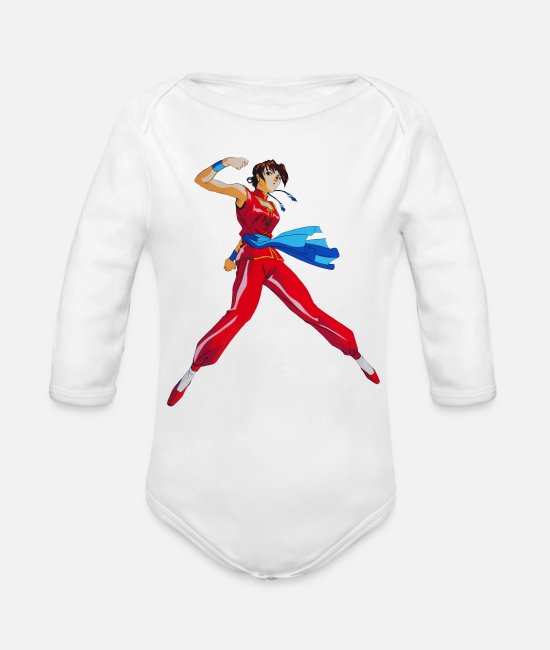 Wife Baby One Pieces - Fight - Organic Long-Sleeved Baby Bodysuit white
