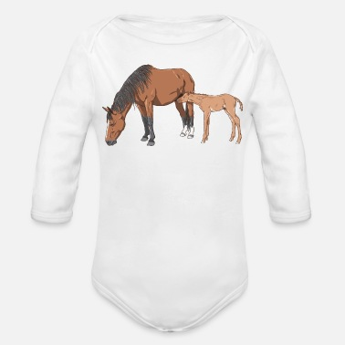 Mare mare & foal - Organic Long Sleeve Baby Bodysuit