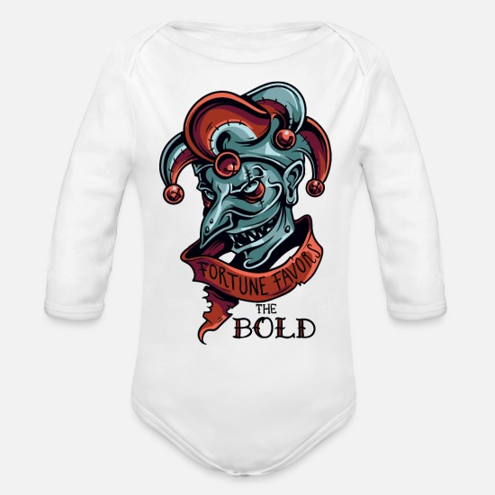 Clown Baby Clothing - Scary Clown Bold Fortune Favors Scary Design Art - Organic Long-Sleeved Baby Bodysuit white