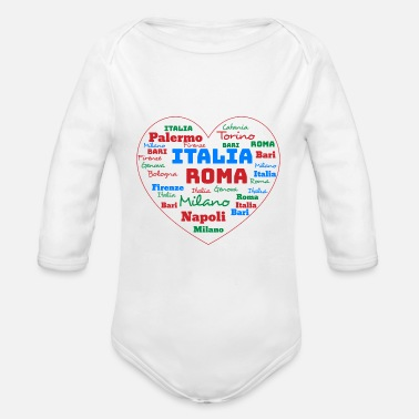 Cuore ITALY HEART ITALIA CUORE WORD CLOUD HOLIDAY (AZUR) - Organic Long-Sleeved Baby Bodysuit