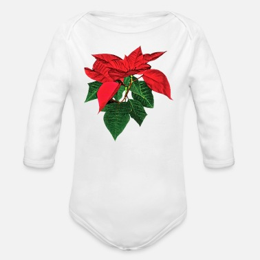 Poinsettia Three Christmas Poinsettias - Organic Long-Sleeved Baby Bodysuit